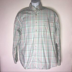 Alan Flusser Mens Shirt Large Plaid Pastels